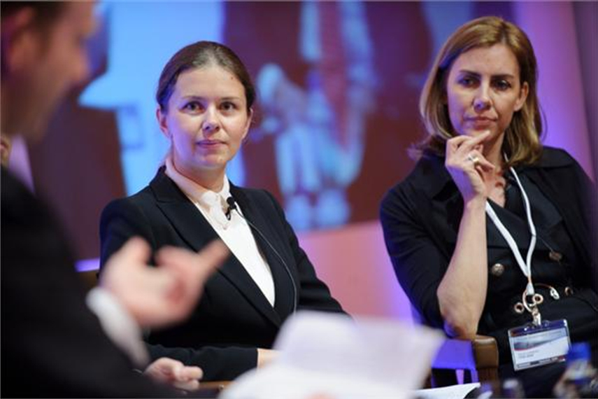 Maria Kharlashkina of Micex-RTS (left) and Tanya Landwehr of TKB BNP Paribas Investment Partners