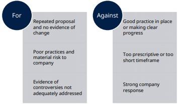 Figure: Voting decision for shareholder proposals