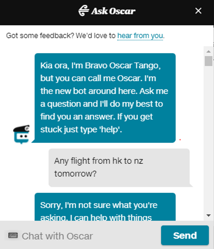 Our reporter enters a difficult chat with Oscar, the Air New Zealand chatbot
