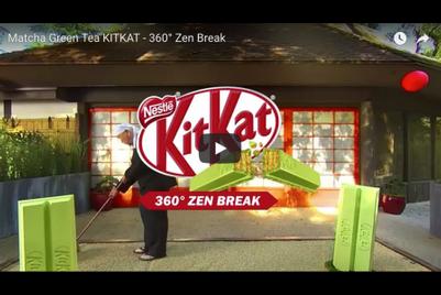 Have a Matcha Green Tea Kit Kat in a zen garden