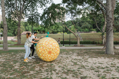 Giant pineapple rolls across Singapore in Caltex campaign