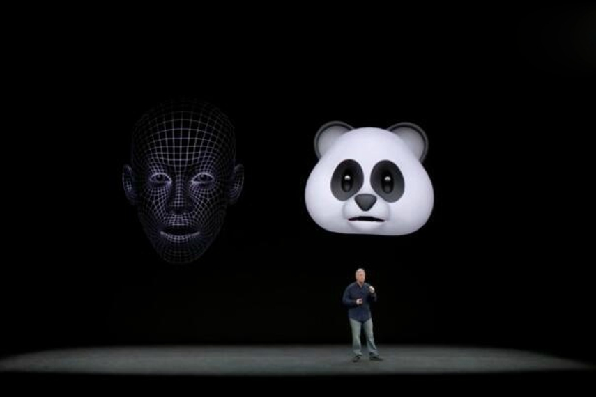 A scene from Apple's introduction of the new iPhones.