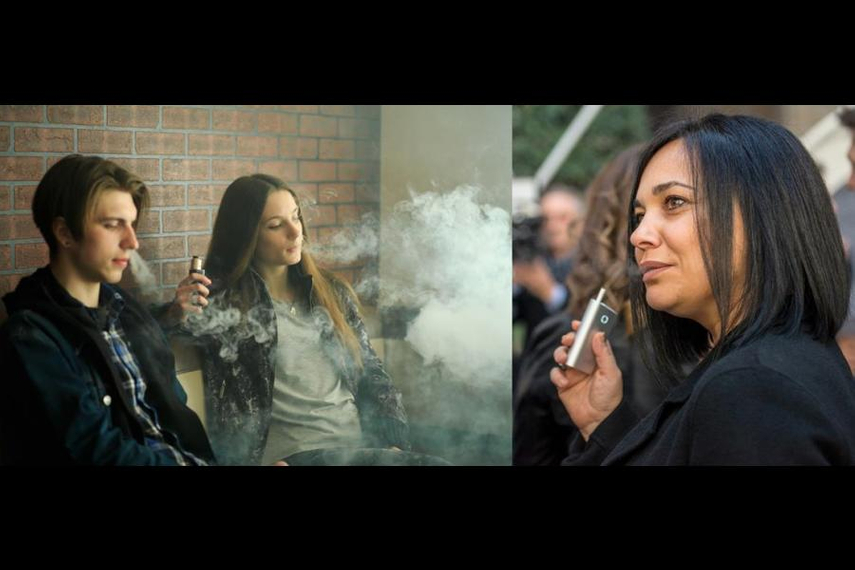 Young people vaping; a woman using BAT's heated tobacco device Glo (Getty Images)