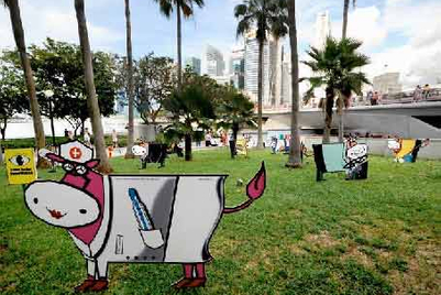Moove Media cows celebrate Singapore's workforce