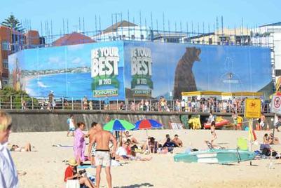 Simplot's John West places giant OOH bear over Bondi Beach