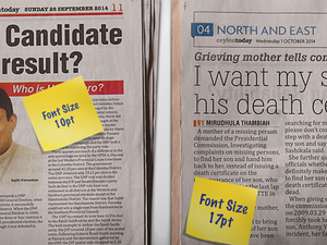 CASE STUDY: Sri Lanka papers respect elders with larger font