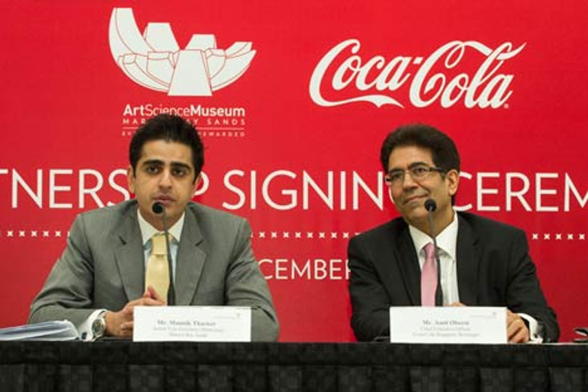 Thacker (left) and Oberoi at the partnership signing ceremony yesterday