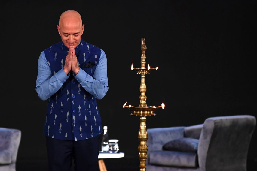 Amazon CEO Jeff Bezos at the company's annual Smbhav event in New Delhi on January 15. (Getty Images)
