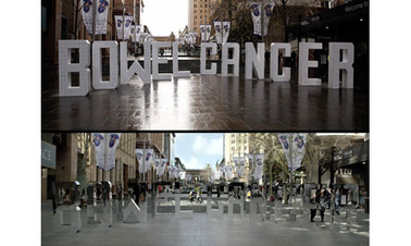 Foundation makes 'bowel cancer' disappear in Sydney