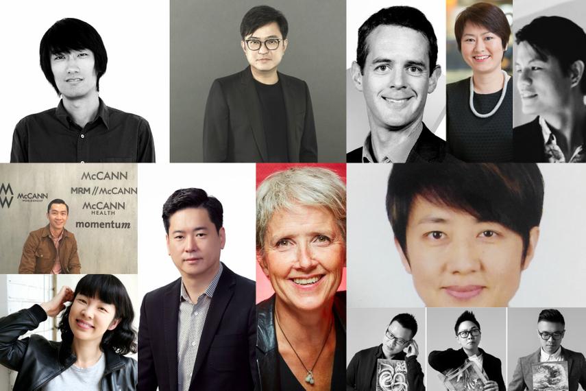 Clockwise from left: Martin Qiu; Keith Ho; Craig Roberts; Serene Chew; Donald Lim; Sharon Dong; Takho Lau, Angie Lau, Rocky Hau; Claire Landrau; Junhwa Wong; Yang Hongli and Lee Sheng.