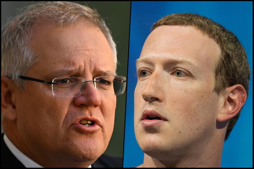 Australian prime minister Scott Morrison and Facebook CEO Mark Zuckerberg. (Shutterstock)