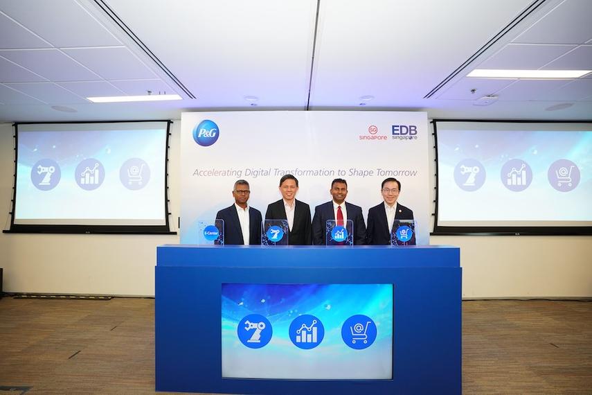 (L-R): Gokul Chandar, P&G CFO APAC; Chan Chun Sing, Minister for Trade and Industry; Magesvaran Suranjan, President, P&G APAC; Beh Swan Gin, Chairman EDB
