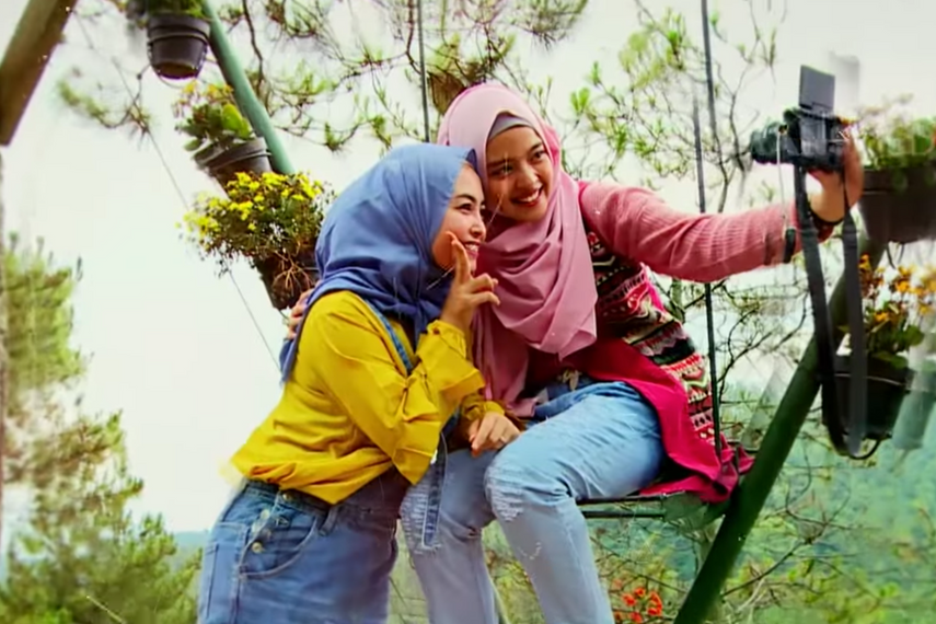 A shot from 'Hijab Traveller', a show on Trans TV that is an example of 'softer' religious content permeating all areas of life in Indonesia.