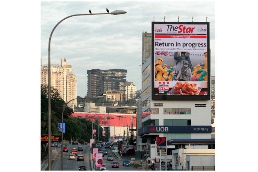 The Star takes to publishing news on billboards in Malaysia