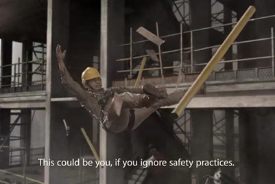 Falling worker conveys safety message