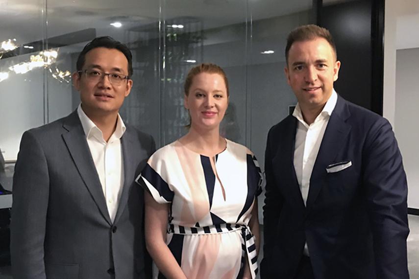 (L-R): Zhengda Shen, Rebecca Tos, Simon Ryan