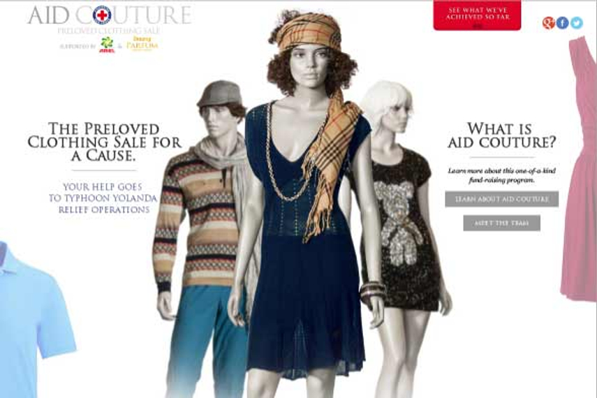 To help typhoon survivors, Philippine Red Cross (PRC) and P&G turned fashion items into daily essentials such as food, water and medicine through fundraising project Aid Couture.
