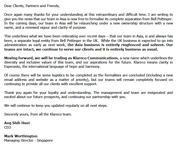 Bell Pottinger letter and cautionary tale for PR professionals