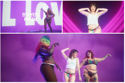 Sexy humans dance in Pride-themed undies