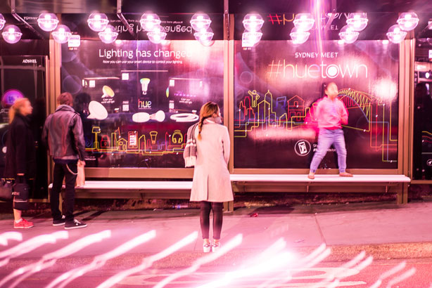 Philips turns bus stop in Sydney's Newtown into 'Huetown'