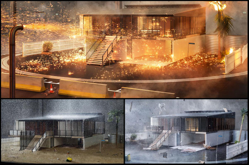 Watch this brand new house get bombarded with fire, wind and flood
