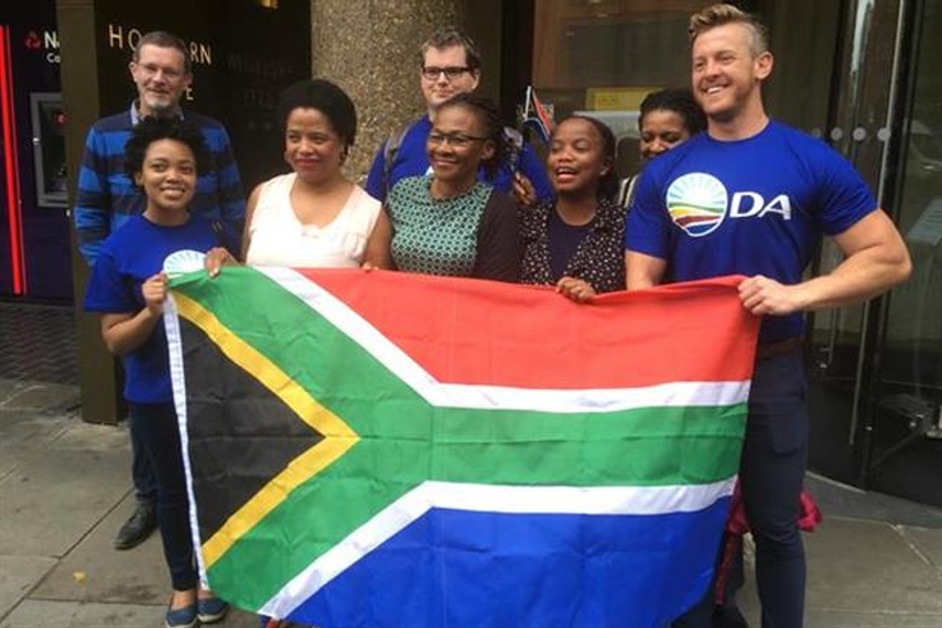 Protest: members of South Africa's Democratic Alliance outside Bell Pottinger's London HQ.
