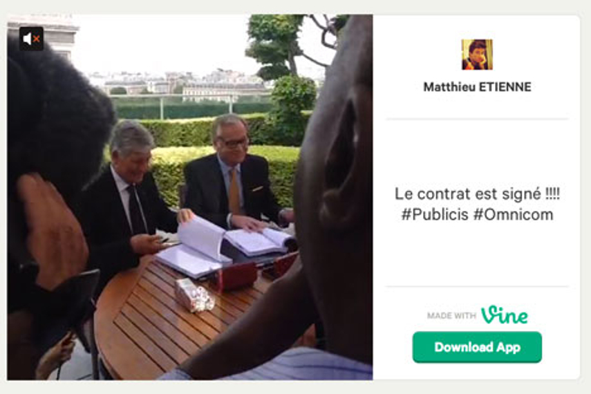 Screenshot of a Vine post marking the signing