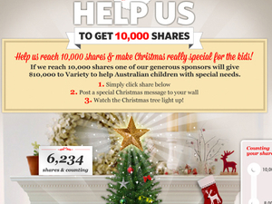 Lights on virtual holiday tree powered by Facebook sharing in charity campaign
