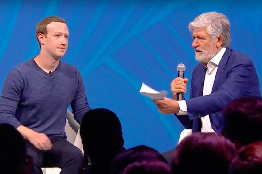 Zuckerberg (left) with Levy.