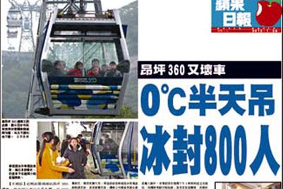 缆车事件使香港声誉雪上加霜