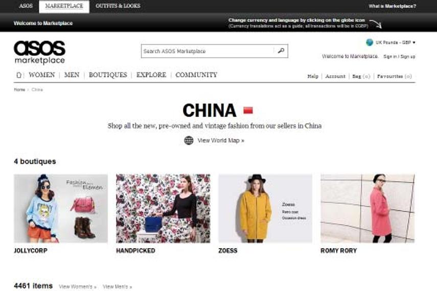 英国网络零售商ASOS启用中国专属网站