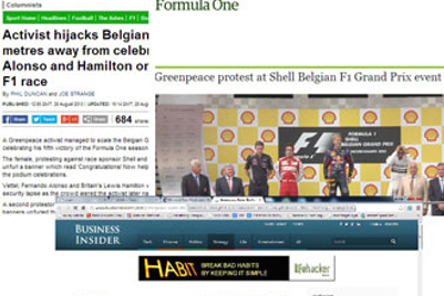 Media gets busy as Greenpeace F1 ambush video gets removed