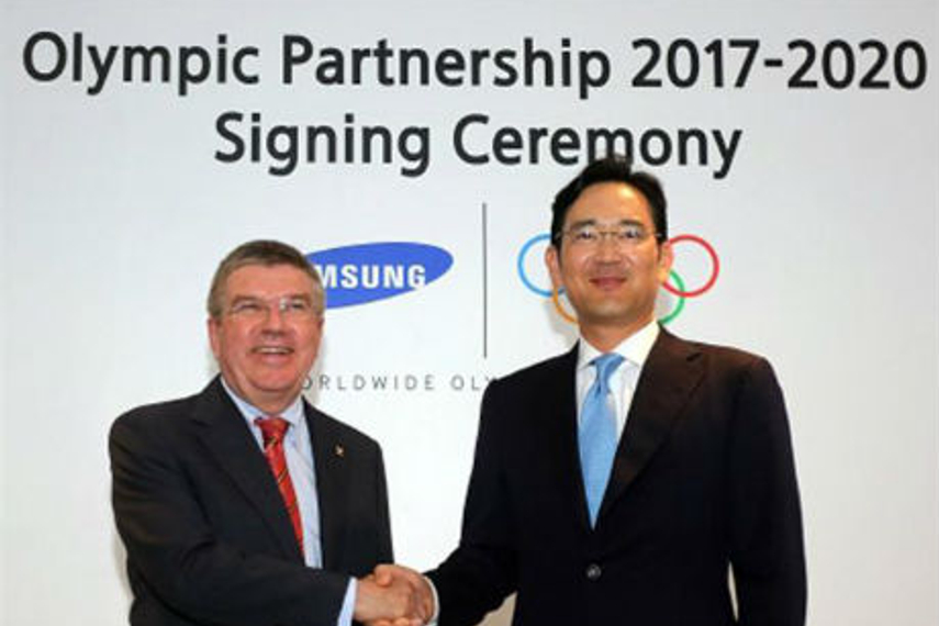 IOC President Thomas Bach and Samsung's Jay Y Lee