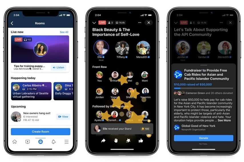 Live Audio Rooms使用時のスクリーンショット(フェイスブック提供)。