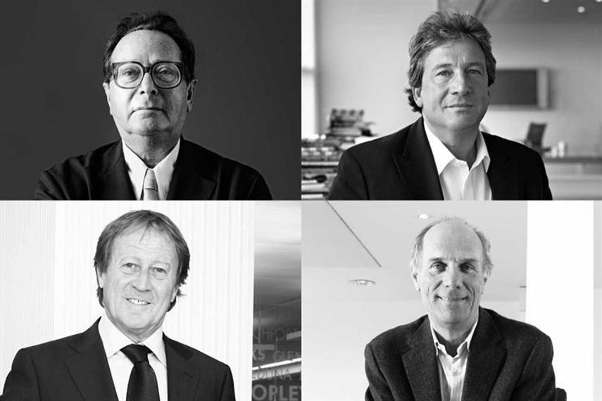 M&Cサーチの創業メンバー(左上から時計回りに:モーリス・サーチ氏、デイビッド・カーショウ氏、ジェレミー・シンクレア氏、ビル・ミュアヘッド氏)