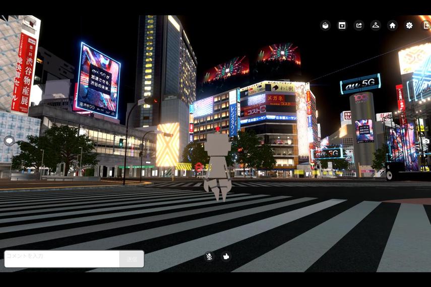仮想空間内に作られたスクランブル交差点