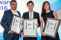 Siddhartha Roy and Malcolm Ow Yong of BNP Paribas join Sheryl Koh of Lundbeck to collect Best Technology Platform