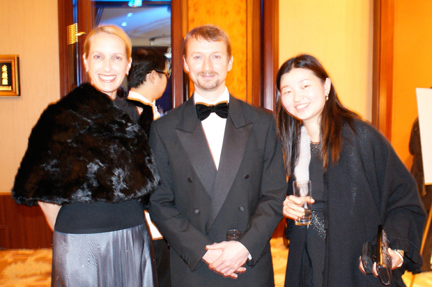 Our guest speaker of the night, Geraint Anderson, flanked by Jennifer Meehan and Sonia Wong from Grameen Foundation