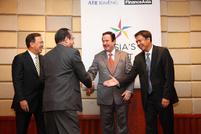 Manuel Tordesillas, ATR KimEng Capital Partners; Albert de Larrazabal, Globe Telecom; Ramon Arnaiz, ATR KimEng Financial; Lorenzo Roxas, ATR KimEng Securities