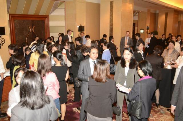 Delegates mingle in the Shangri-La ahead of the conference