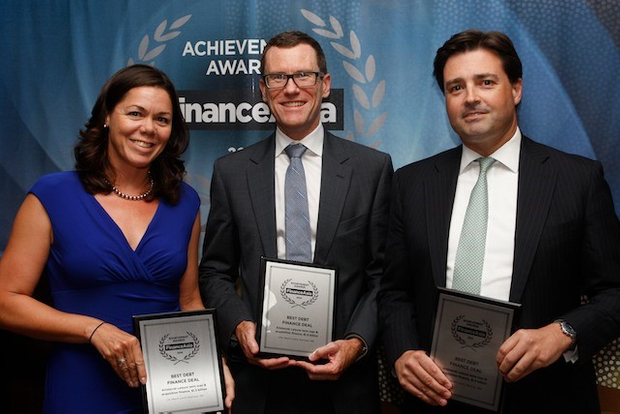 Julie Cameron-Doe of Aristocrat Leisure with UBS's Lance McKegg and Citi's Lachlan Tracey collect the Best Debt Finance Deal award