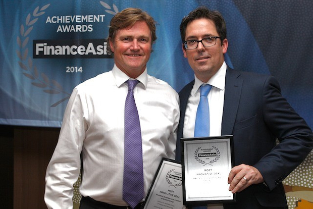 Mark Burmeister of Morgan Stanley and Jarrod Key of UBS collect the Most Innovative Deal award for the Westfield demerger