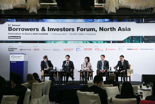 Discussing bank capital, [l-r] Dominique Jooris, Ryan Tsang, Khun Kittiya Todhanakasem, John Lee and Frederick Chan