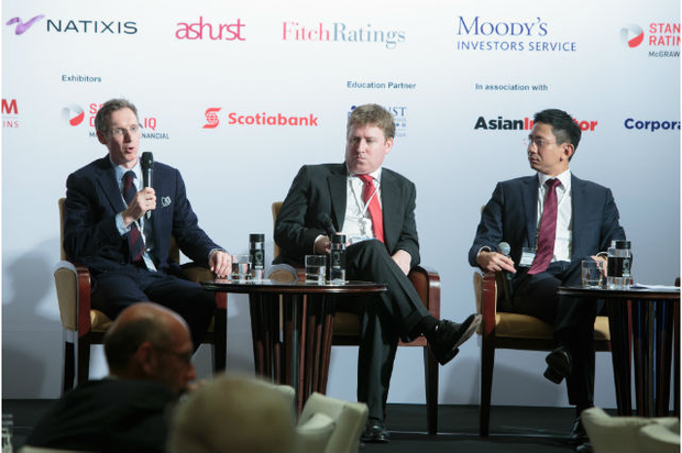 [l-r] James Wright, Kroll, Fergal Power, KPMG and Howard Lam, Latham and Watkins discuss distressed debt and restructuring