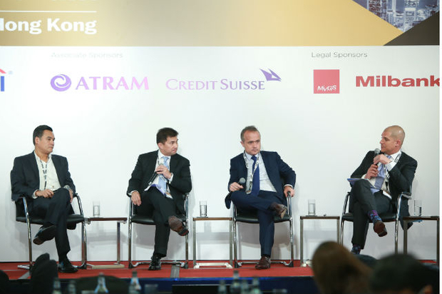 Private equity session [l-r]  Nori Poblador, Manuel Gonzalez, Sebastien Guillaud and James Grandolfo