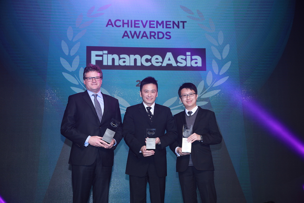 Jonathan Drew of HSBC, Allen Mak of AAG Energy and Peter Chan of Standard Chartered collect Best Project Finance for AAG's $250m RBL facility