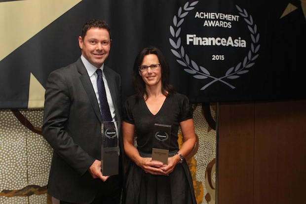 Paul White and Katharine Tapley accept Most Innovative Deal award for ANZ's A$600 million green bond
