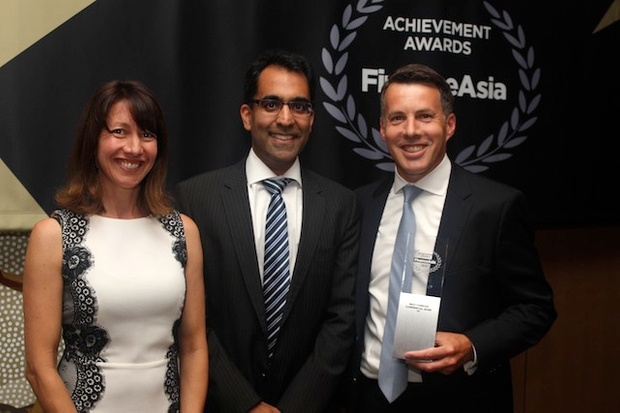 Citi's Nishant Sethi and Brett Hanmer accept Best Foreign Commercial Bank award from FinanceAsia