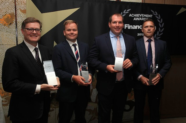 Nick Chaplin from NAB, Adam Vise from ANZ and Australian Unity's Kevin McCoy accept the award for Joint Best Local Bond