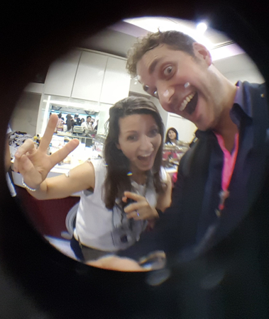 Elodie Coscas, head of client marketing at UBS and FinanceAsia's Richard Morrow, test out the UBS fisheye camera accessories.